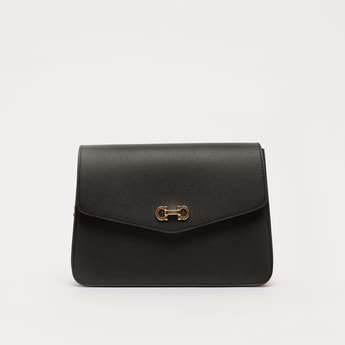 Solid Crossbody Bag with Adjustable Strap and Magnetic Snap Closure