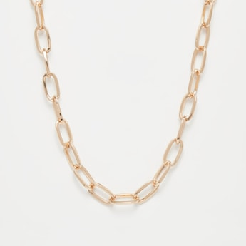 Solid Chain Link Necklace with Lobster Clasp Closure
