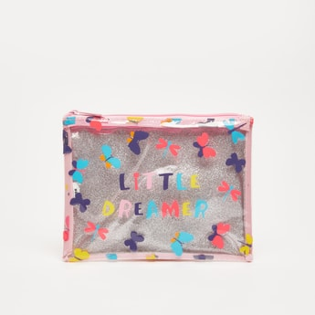 Butterfly Print Pencil Pouch with Zip Closure