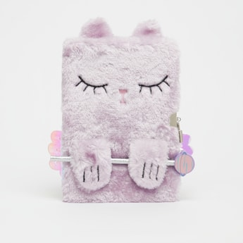 Applique Detail Plush Notebook with Pencil and Lock