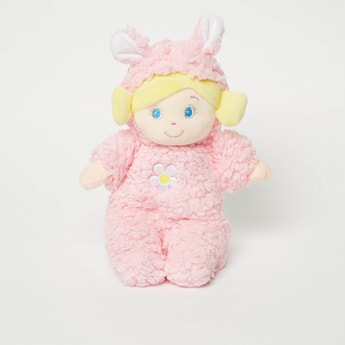 Textured Rag Doll with Floral Applique Detail