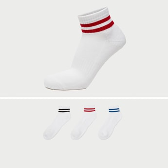 Pack of 3 - Stripe Detail Crew Length Socks with Cuffed Hem