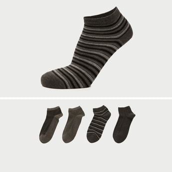 Pack of 4 - Assorted Ankle Length Socks with Cuffed Hem