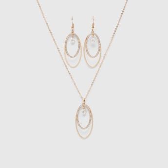 Embellished Pendant Necklace and Earring Set