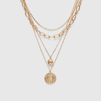 Embellished Pendant Multi-Layer Necklace with Lobster Clasp