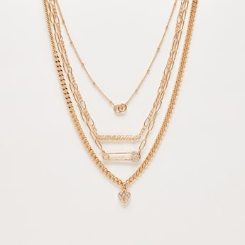 Embellished Multi-Layer Necklace with Lobster Clasp