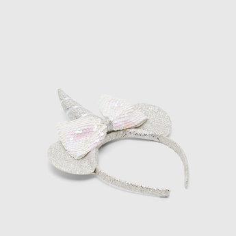 Glitter Hairband with Sequin Embellished Bow and Unicorn Horn