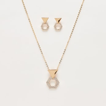 Studded Pendant Necklace and Dangling Earrings Set