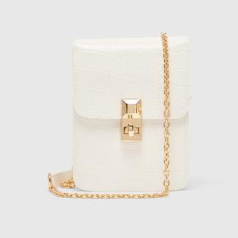 Textured Crossbody Bag with Metallic Chain
