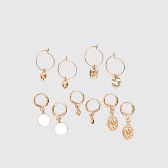 Set of 5 - Embellished Dangling Earrings with Hinged Hoop