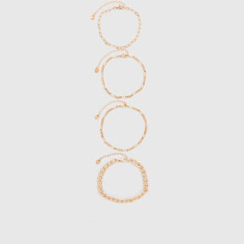 Set of 4 - Chain Link Bracelets with Lobster Clasp Closure