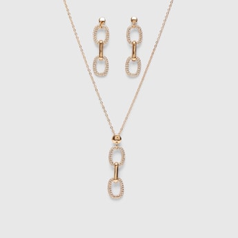Stone Studded Necklace and Drop Earring Set