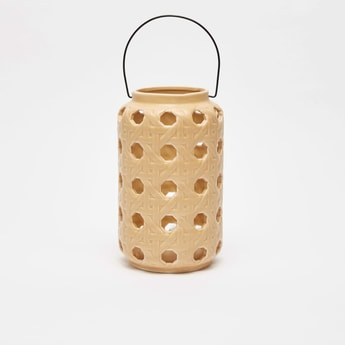 Cutworked Ceramic Lantern with Handle