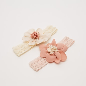 Set of 2 - Ruched Hairbands with Flower Appliques