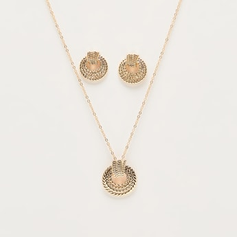 Embellished Earrings and Necklace Set