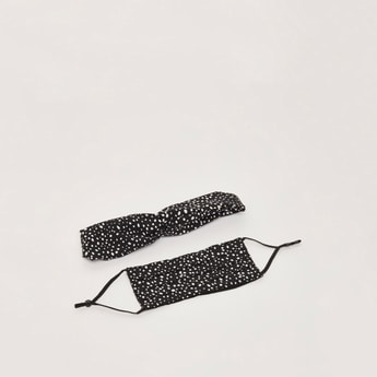 Polka Dot Print Headband and Reusable Mask
