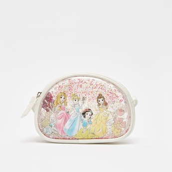 Disney Princess Print Crossbody Bag with Zip Closure