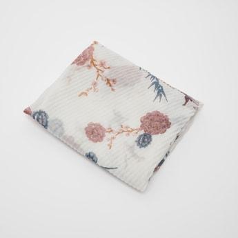 Pleated Floral-Print Rectangular Scarf