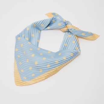 Printed Pleated Square Scarf