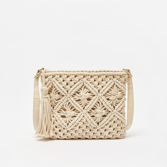 Textured Crossbody Bag with Zip Closure and Tassel Detail