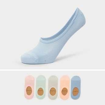 Pack of 5 - Textured Invisible Footies with Round Toe Seam