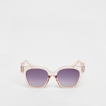 Tinted Full Rim Sunglasses with Floral Accent