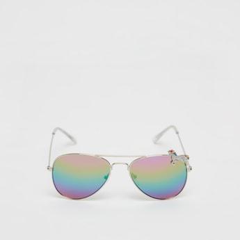 Unicorn Applique Multicoloured Aviator Sunglasses with Metal Rims