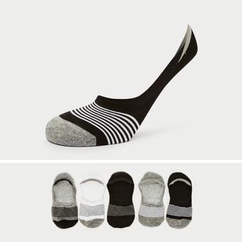 جوارب غير مرئية مخططة بحوّاف مطّاطية - طقم من 5 أزواج