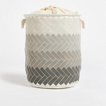 Chevron Print Laundry Hamper with Drawstring Closure - 38x49 cms