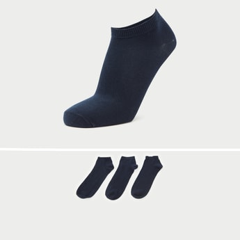 Pack of 3 - Solid Ankle-Length Socks with Patterned Hem