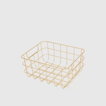 Metallic Decorative Basket with Cutout Handles - 25.5x20.5x12.5 cms