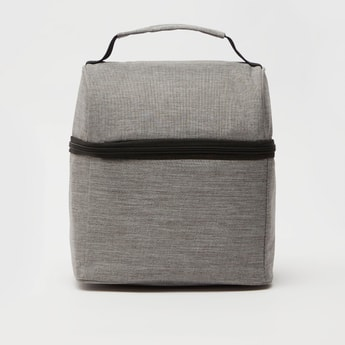 Textured Lunch Bag with Handle and Zip Closure