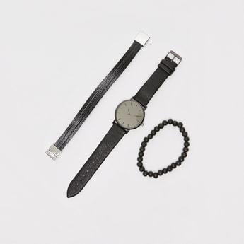 طقم سوار ساعة يد دائرية سادة - 3 قطع