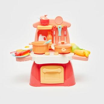 مجموعة لعب مطبخ صغير بأضواء وأصوات