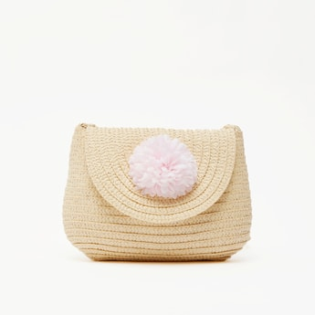 Textured Satchel Bag with Pom Pom Applique