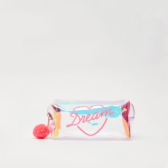 Printed Pouch with Pom Pom Applique Detail and Zip Closure