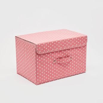 صندوق تخزين مستطيلي بمقبض وطبعات - 38x25 سم
