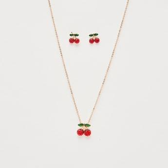 Necklace with Cherry Shaped Pendant and Stud Earring Set