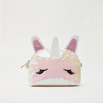 Unicorn Sequin Detail Crossbody Bag with Zip Closure