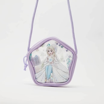Frozen Print Crossbody Bag with Zip Closure