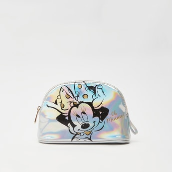 Minnie Mouse Print Glossy Pouch with Zip Closure