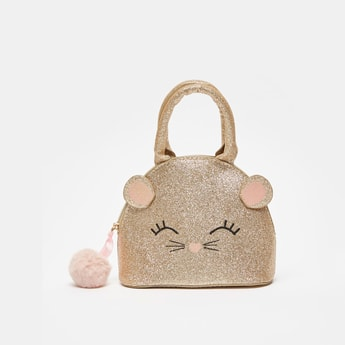 Glitter Accent Bag with Zip Closure and Pom-Pom Detail