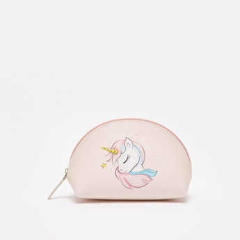 Unicorn Graphic Print Zippered Pouch