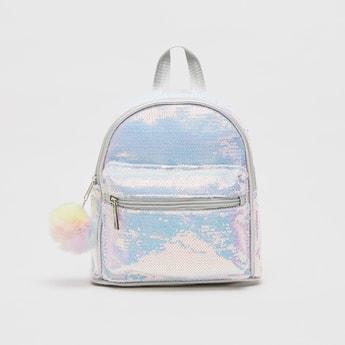 Sequin Embellished Backpack with Adjustable Shoulder Straps