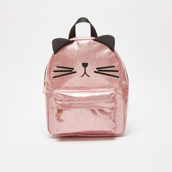 Glitter Accent Backpack with Embroidered Detail and Zip Closure