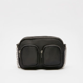 Solid Crossbody Bag with Zip Closure