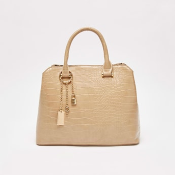 Textured Tote Bag with Metal Charms and Zip Closure