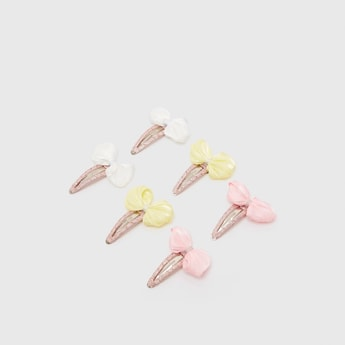 Set of 3 - Bow Applique Detail Hairpins