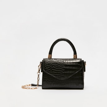 Reptilian Textured Handbag with Detachable Strap