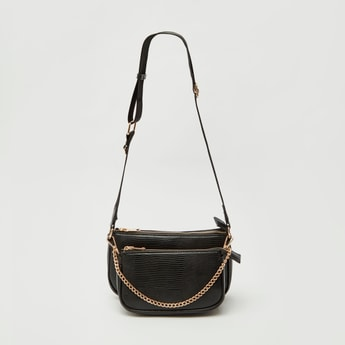 Textured Crossbody Bag with Metallic Chain and Pouch